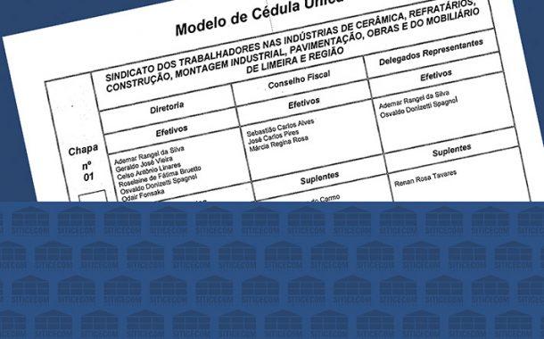 Modelo de Cédula para as Eleições